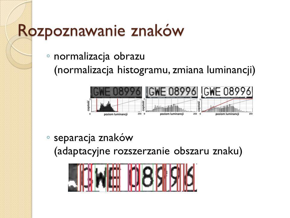 Rozpoznawanie znaków normalizacja obrazu (normalizacja histogramu, zmiana luminancji) separacja znaków (adaptacyjne rozszerzanie obszaru znaku)