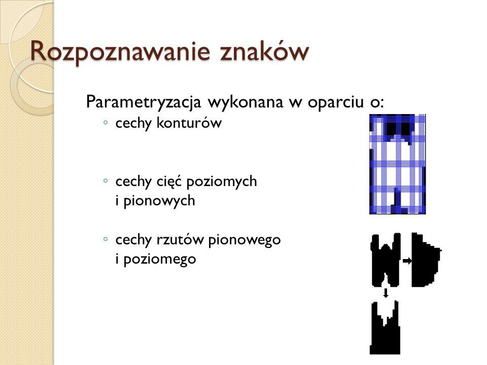 Parametryzacja wykonana w oparciu o: cechy konturów cechy cięć poziomych i pionowych cechy rzutów pionowego i poziomego Rozpoznawanie znaków