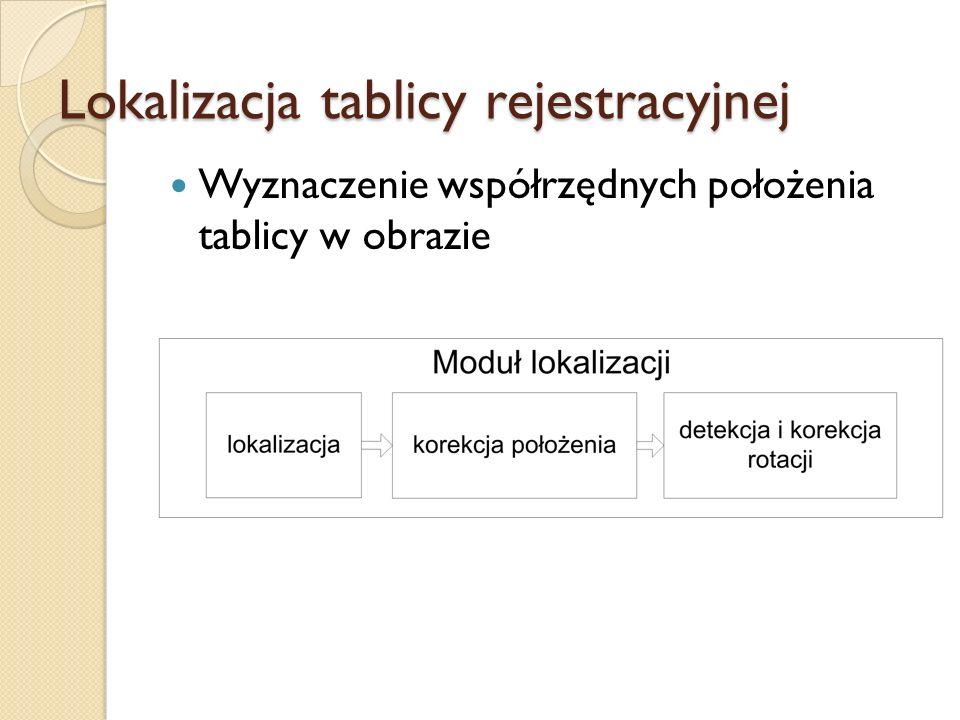 Wyznaczenie współrzędnych położenia tablicy w obrazie Lokalizacja tablicy rejestracyjnej