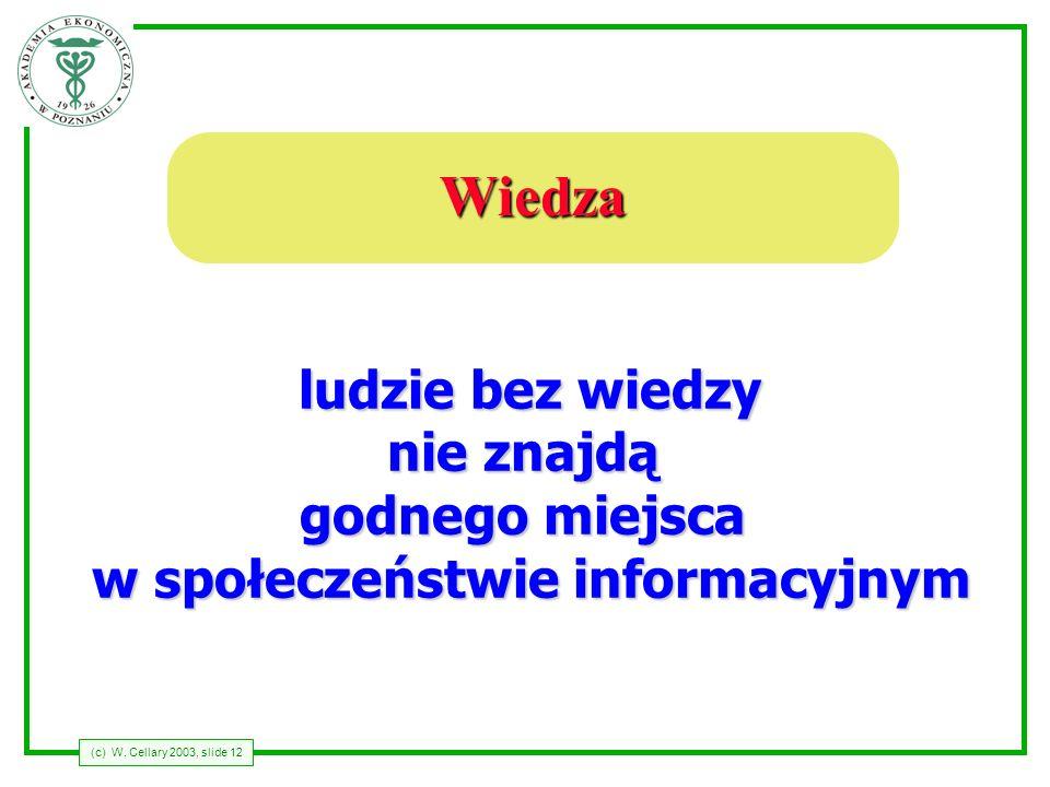 (c) W. Cellary 2003, slide 12 Wiedza ludzie bez wiedzy nie znajdą godnego miejsca w społeczeństwie informacyjnym