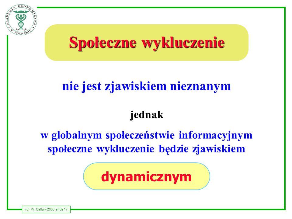 (c) W. Cellary 2003, slide 17 Społeczne wykluczenie nie jest zjawiskiem nieznanym jednak dynamicznym w globalnym społeczeństwie informacyjnym społeczn
