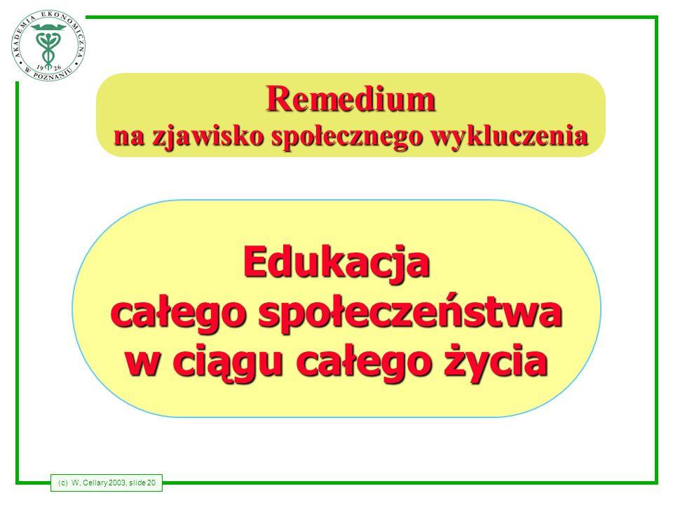 (c) W. Cellary 2003, slide 20 Remedium na zjawisko społecznego wykluczenia Edukacja całego społeczeństwa w ciągu całego życia