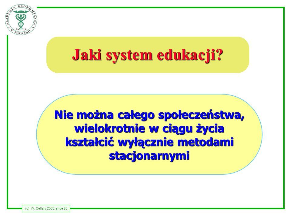(c) W. Cellary 2003, slide 28 Jaki system edukacji? Nie można całego społeczeństwa, wielokrotnie w ciągu życia kształcić wyłącznie metodami stacjonarn