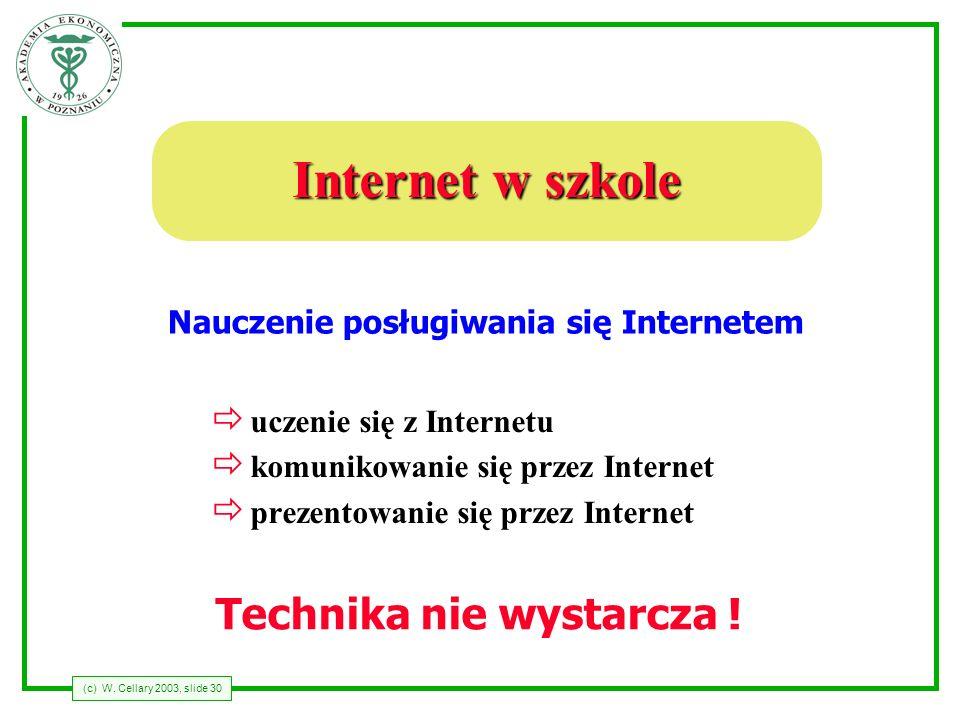 (c) W. Cellary 2003, slide 30 Internet w szkole ð uczenie się z Internetu ð komunikowanie się przez Internet ð prezentowanie się przez Internet Naucze