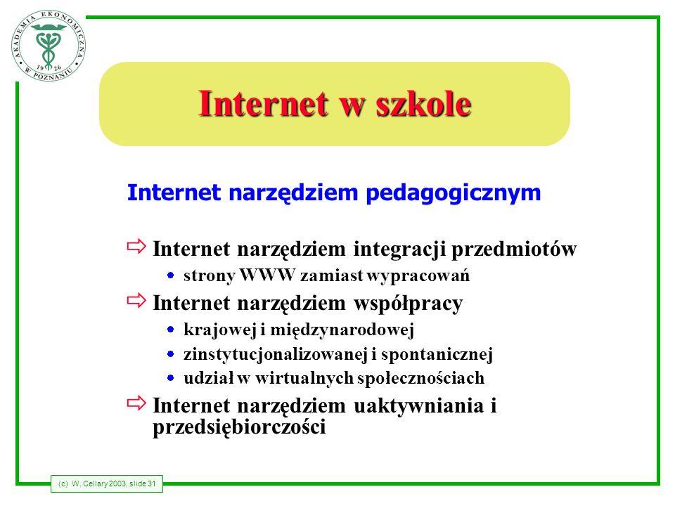 (c) W. Cellary 2003, slide 31 Internet w szkole ð Internet narzędziem integracji przedmiotów strony WWW zamiast wypracowań ð Internet narzędziem współ