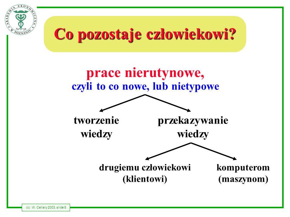 (c) W. Cellary 2003, slide 8 Co pozostaje człowiekowi? prace nierutynowe, czyli to co nowe, lub nietypowe tworzenie wiedzy przekazywanie wiedzy drugie