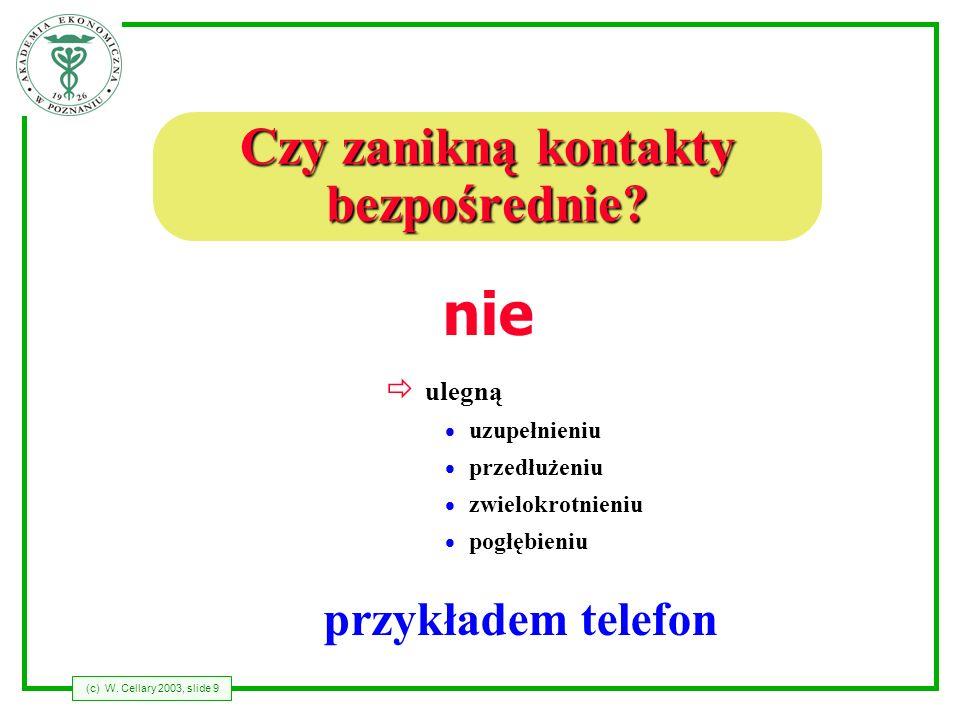 (c) W. Cellary 2003, slide 9 Czy zanikną kontakty bezpośrednie? ð ulegną uzupełnieniu przedłużeniu zwielokrotnieniu pogłębieniu nie przykładem telefon