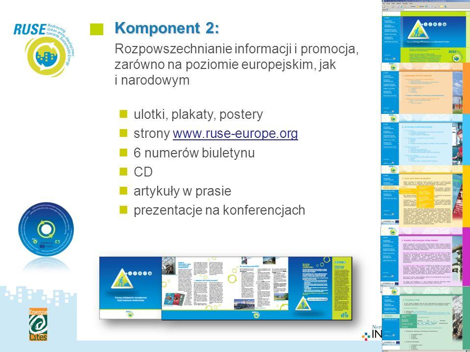 Polska Sieć Komponent 2: Rozpowszechnianie informacji i promocja, zarówno na poziomie europejskim, jak i narodowym ulotki, plakaty, postery strony www.ruse-europe.org 6 numerów biuletynu CD artykuły w prasie prezentacje na konferencjach Polska Sieć