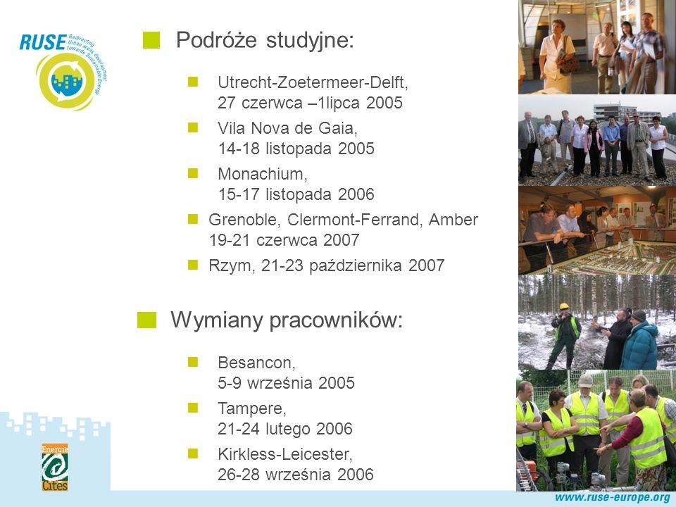 Polska Sieć Utrecht-Zoetermeer-Delft, 27 czerwca –1lipca 2005 Vila Nova de Gaia, 14-18 listopada 2005 Monachium, 15-17 listopada 2006 Grenoble, Clermont-Ferrand, Amber 19-21 czerwca 2007 Rzym, 21-23 października 2007 Podróże studyjne: Wymiany pracowników: Besancon, 5-9 września 2005 Tampere, 21-24 lutego 2006 Kirkless-Leicester, 26-28 września 2006