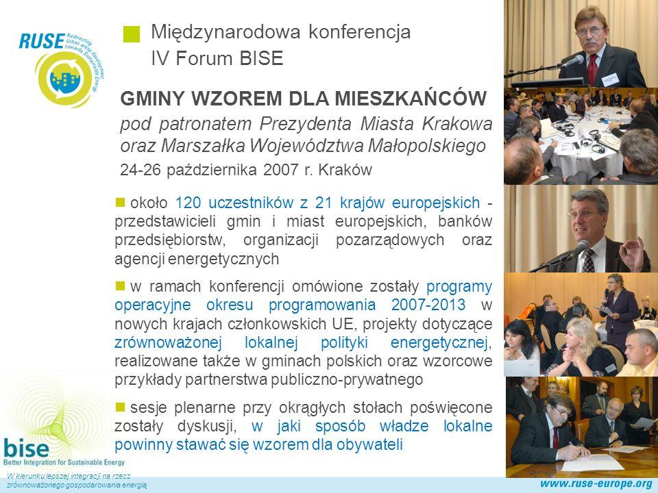 Polska Sieć Międzynarodowa konferencja IV Forum BISE W kierunku lepszej integracji na rzecz zrównoważonego gospodarowania energią GMINY WZOREM DLA MIESZKAŃCÓW pod patronatem Prezydenta Miasta Krakowa oraz Marszałka Województwa Małopolskiego 24-26 października 2007 r.