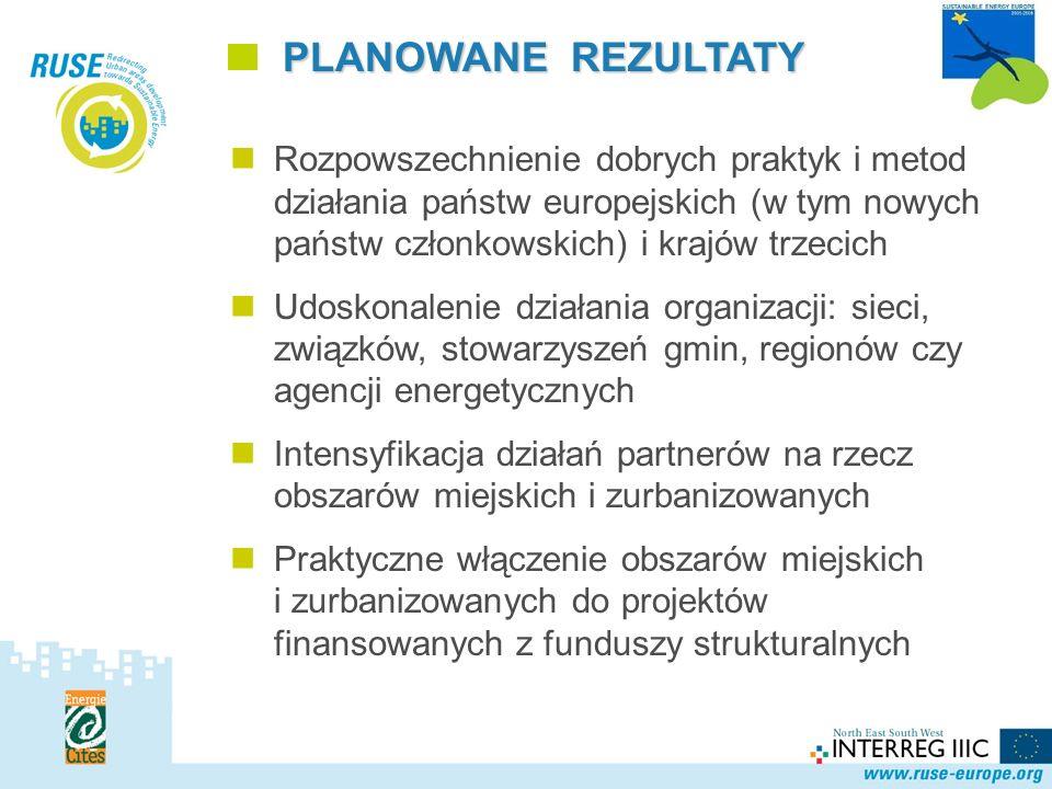 Polska Sieć Rozpowszechnienie dobrych praktyk i metod działania państw europejskich (w tym nowych państw członkowskich) i krajów trzecich Udoskonalenie działania organizacji: sieci, związków, stowarzyszeń gmin, regionów czy agencji energetycznych Intensyfikacja działań partnerów na rzecz obszarów miejskich i zurbanizowanych Praktyczne włączenie obszarów miejskich i zurbanizowanych do projektów finansowanych z funduszy strukturalnych PLANOWANE REZULTATY