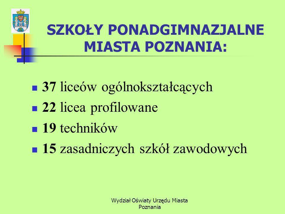 Wydział Oświaty Urzędu Miasta Poznania 37 liceów ogólnokształcących 22 licea profilowane 19 techników 15 zasadniczych szkół zawodowych SZKOŁY PONADGIMNAZJALNE MIASTA POZNANIA: