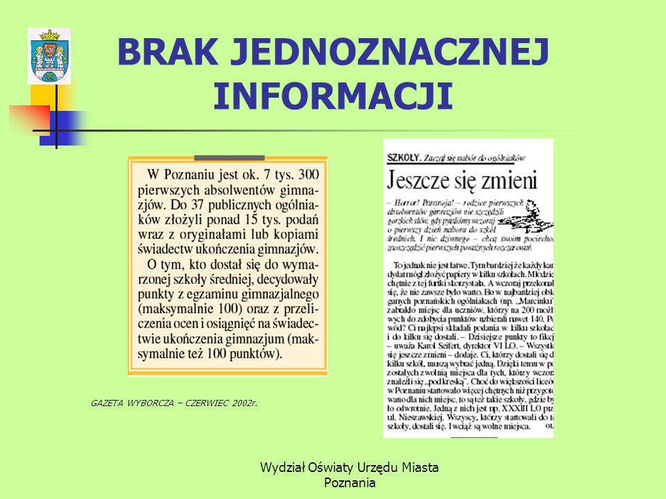 Wydział Oświaty Urzędu Miasta Poznania BRAK JEDNOZNACZNEJ INFORMACJI GAZETA WYBORCZA – CZERWIEC 2002r.