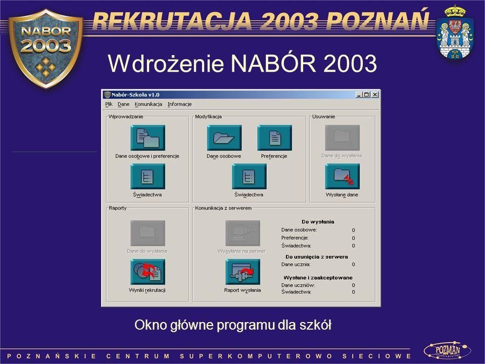 Okno główne programu dla szkół Wdrożenie NABÓR 2003