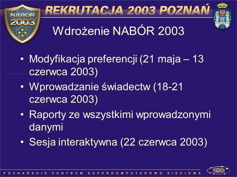 Modyfikacja preferencji (21 maja – 13 czerwca 2003) Wprowadzanie świadectw (18-21 czerwca 2003) Raporty ze wszystkimi wprowadzonymi danymi Sesja inter