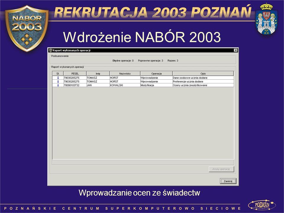 Wprowadzanie ocen ze świadectw Wdrożenie NABÓR 2003