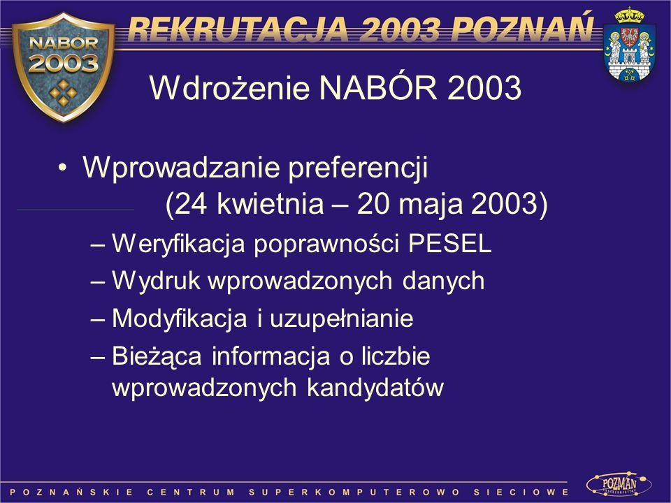 Wprowadzanie preferencji (24 kwietnia – 20 maja 2003) –Weryfikacja poprawności PESEL –Wydruk wprowadzonych danych –Modyfikacja i uzupełnianie –Bieżąca