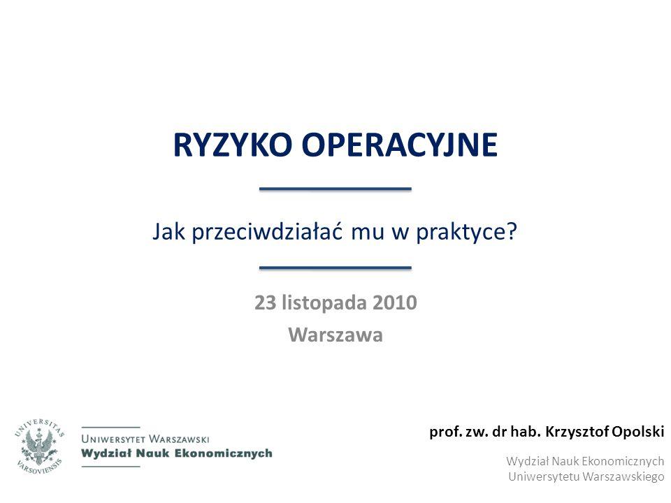 I.RYZYKO OPERACYJNE Obszar definicyjny © Krzysztof Opolski