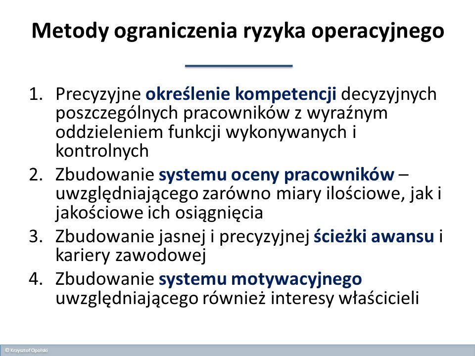 Metody ograniczenia ryzyka operacyjnego 1.Precyzyjne określenie kompetencji decyzyjnych poszczególnych pracowników z wyraźnym oddzieleniem funkcji wyk