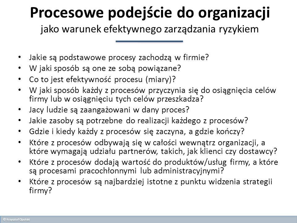 Procesowe podejście do organizacji jako warunek efektywnego zarządzania ryzykiem Jakie są podstawowe procesy zachodzą w firmie? W jaki sposób są one z