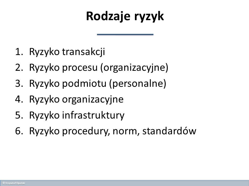 Rodzaje ryzyk 1.Ryzyko transakcji 2.Ryzyko procesu (organizacyjne) 3.Ryzyko podmiotu (personalne) 4.Ryzyko organizacyjne 5.Ryzyko infrastruktury 6.Ryz
