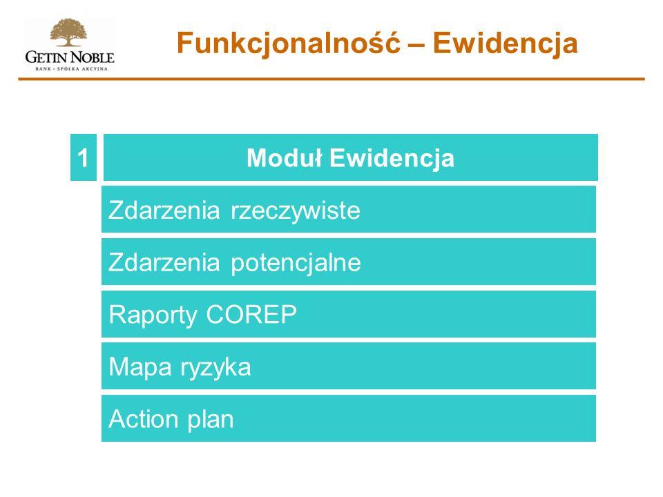 Moduł Ewidencja1 Funkcjonalność – Ewidencja Zdarzenia rzeczywiste Zdarzenia potencjalne Raporty COREP Mapa ryzyka Action plan