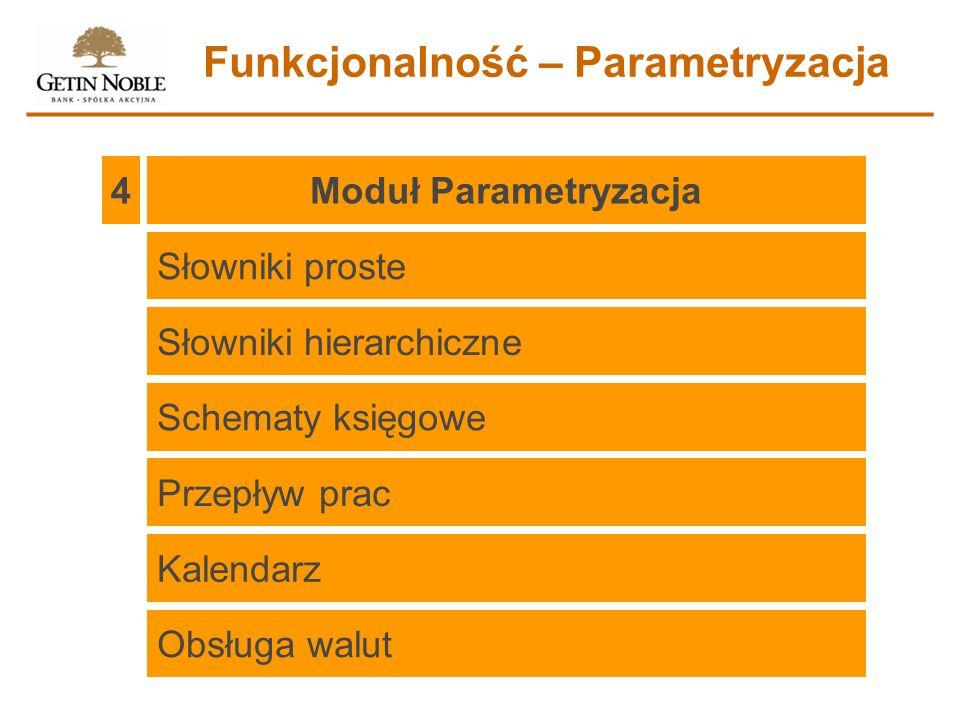 Moduł Parametryzacja 4 Funkcjonalność – Parametryzacja Słowniki proste Słowniki hierarchiczne Schematy księgowe Przepływ prac Kalendarz Obsługa walut