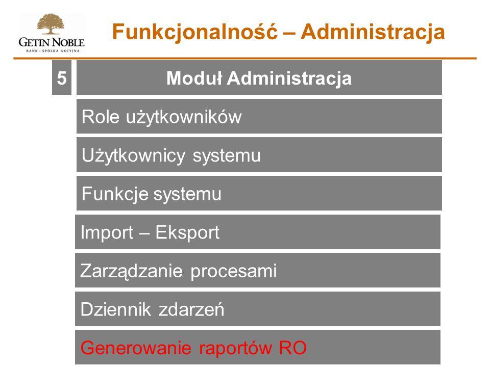 Moduł Administracja5 Funkcjonalność – Administracja Role użytkowników Użytkownicy systemu Funkcje systemu Import – Eksport Zarządzanie procesami Dzien