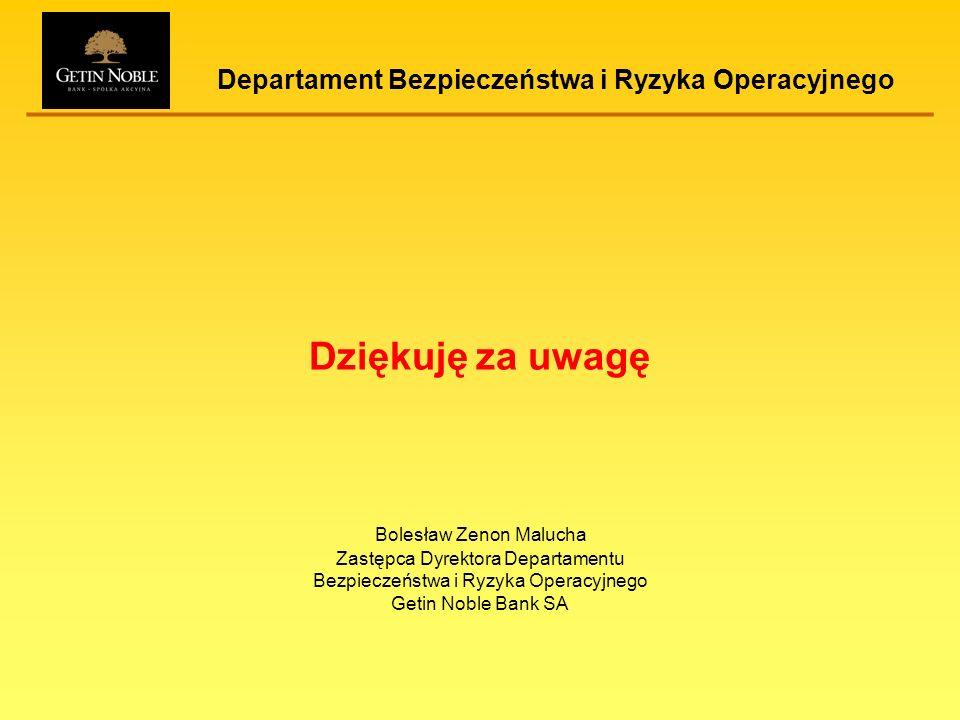 Departament Bezpieczeństwa i Ryzyka Operacyjnego Dziękuję za uwagę Bolesław Zenon Malucha Zastępca Dyrektora Departamentu Bezpieczeństwa i Ryzyka Oper
