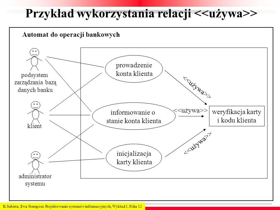 K.Subieta, Ewa Stemposz. Projektowanie systemów informacyjnych, Wykład 1, Folia 12 Przykład wykorzystania relacji > podsystem zarządzania bazą danych