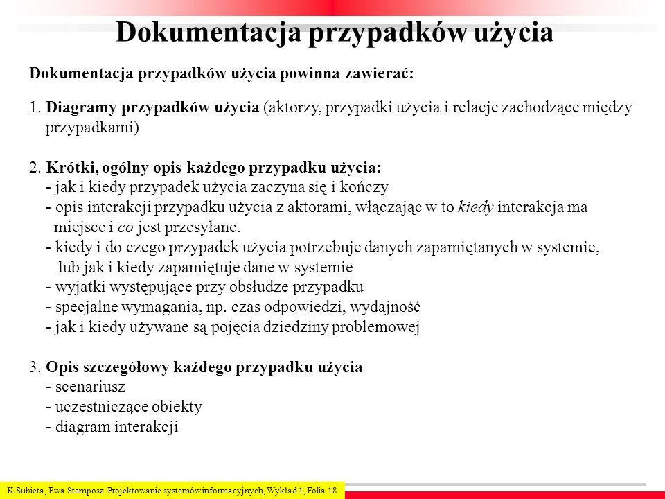 K.Subieta, Ewa Stemposz. Projektowanie systemów informacyjnych, Wykład 1, Folia 18 Dokumentacja przypadków użycia 1. Diagramy przypadków użycia (aktor