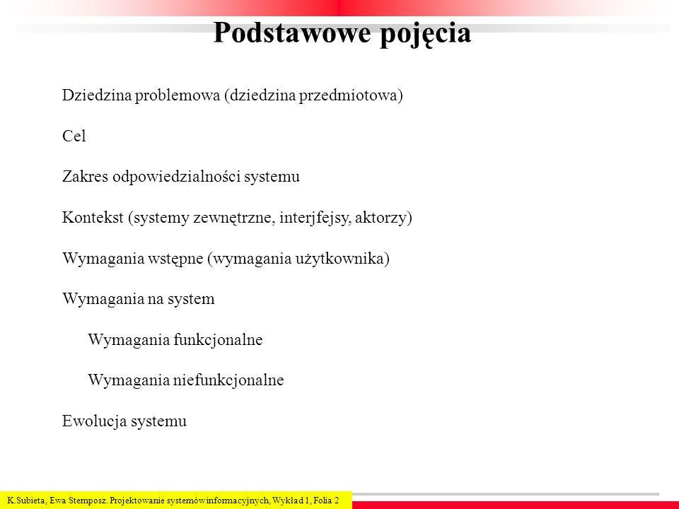 K.Subieta, Ewa Stemposz. Projektowanie systemów informacyjnych, Wykład 1, Folia 2 Podstawowe pojęcia Dziedzina problemowa (dziedzina przedmiotowa) Cel