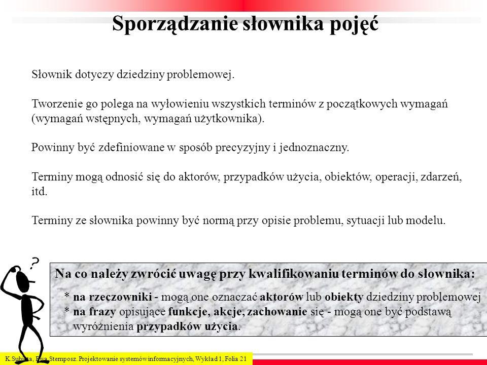 K.Subieta, Ewa Stemposz. Projektowanie systemów informacyjnych, Wykład 1, Folia 21 Sporządzanie słownika pojęć Słownik dotyczy dziedziny problemowej.