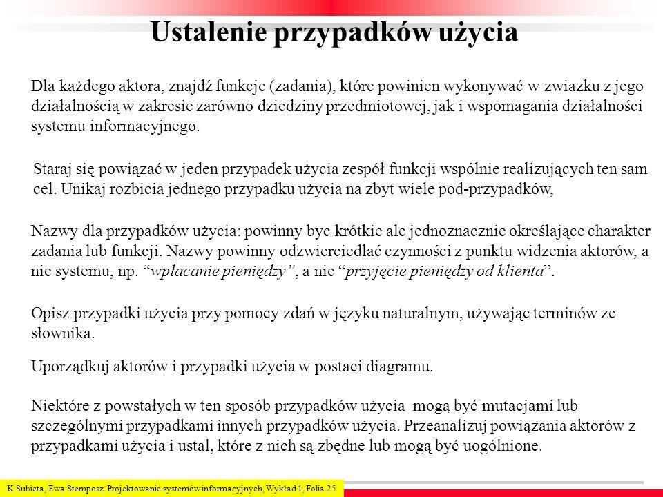 K.Subieta, Ewa Stemposz. Projektowanie systemów informacyjnych, Wykład 1, Folia 25 Ustalenie przypadków użycia Dla każdego aktora, znajdź funkcje (zad
