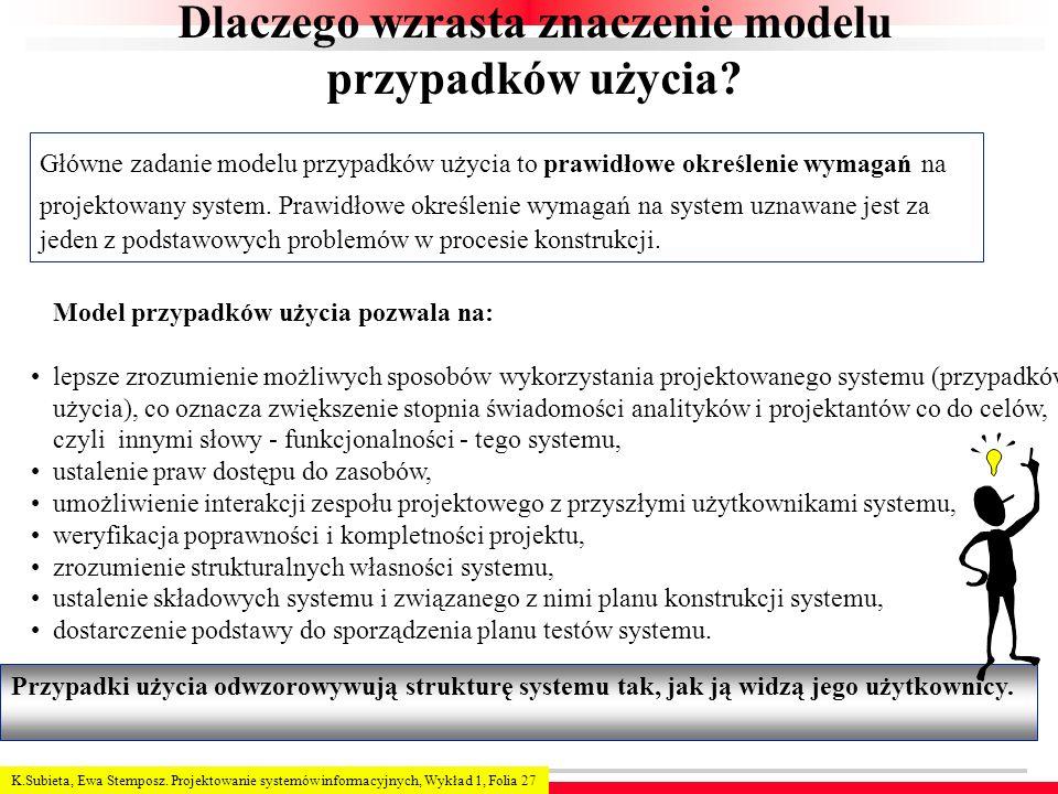 K.Subieta, Ewa Stemposz. Projektowanie systemów informacyjnych, Wykład 1, Folia 27 Dlaczego wzrasta znaczenie modelu przypadków użycia? Główne zadanie