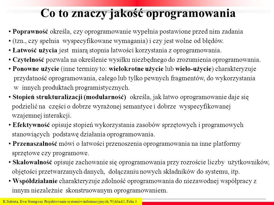 K.Subieta, Ewa Stemposz. Projektowanie systemów informacyjnych, Wykład 1, Folia 3 Co to znaczy jakość oprogramowania Poprawność określa, czy oprogramo