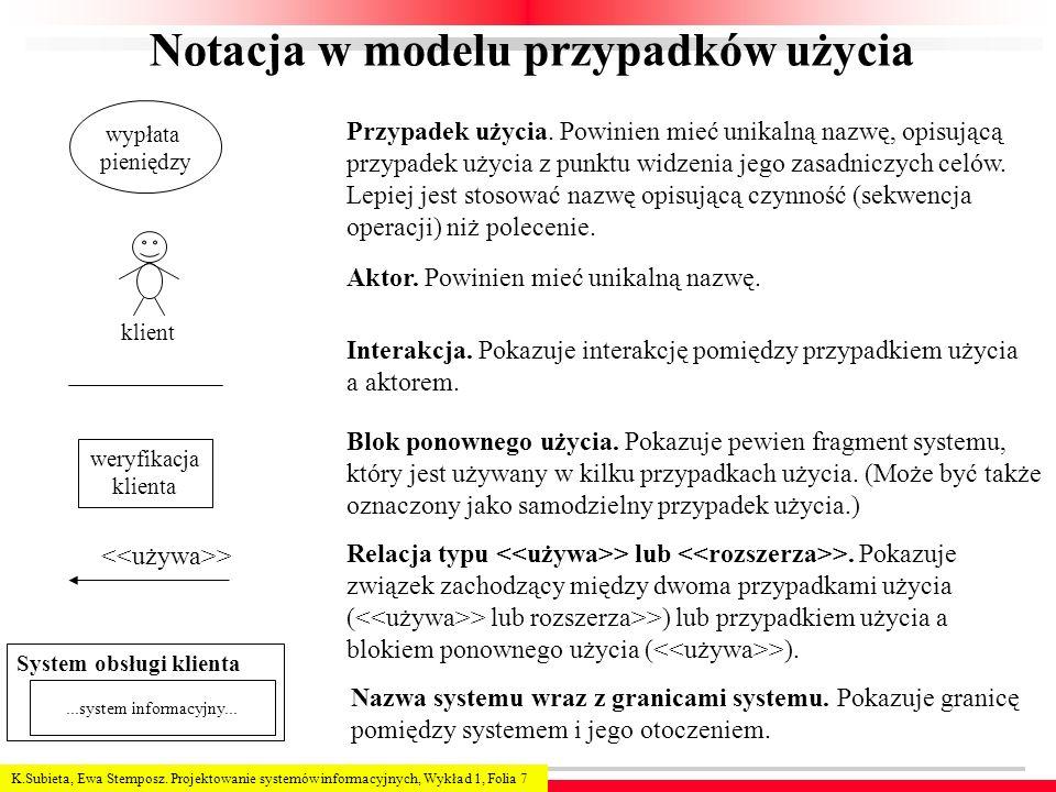 K.Subieta, Ewa Stemposz. Projektowanie systemów informacyjnych, Wykład 1, Folia 7 Notacja w modelu przypadków użycia Przypadek użycia. Powinien mieć u