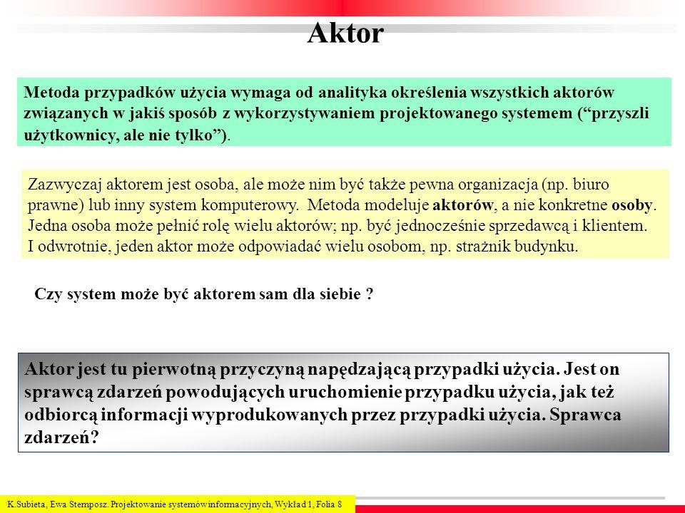 K.Subieta, Ewa Stemposz. Projektowanie systemów informacyjnych, Wykład 1, Folia 8 Aktor Metoda przypadków użycia wymaga od analityka określenia wszyst
