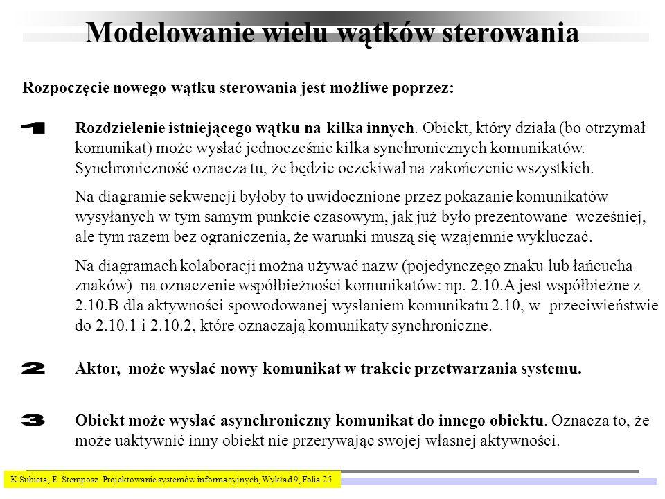 K.Subieta, E. Stemposz. Projektowanie systemów informacyjnych, Wykład 9, Folia 25 Modelowanie wielu wątków sterowania Rozpoczęcie nowego wątku sterowa
