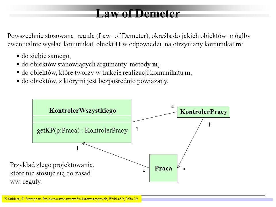 K.Subieta, E. Stemposz. Projektowanie systemów informacyjnych, Wykład 9, Folia 29 Law of Demeter Powszechnie stosowana reguła (Law of Demeter), określ
