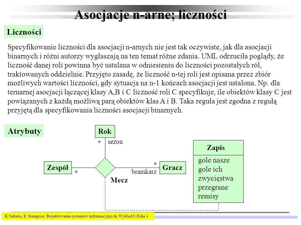 K.Subieta, E. Stemposz. Projektowanie systemów informacyjnych, Wykład 9, Folia 4 Asocjacje n-arne; liczności Liczności Specyfikowanie liczności dla as