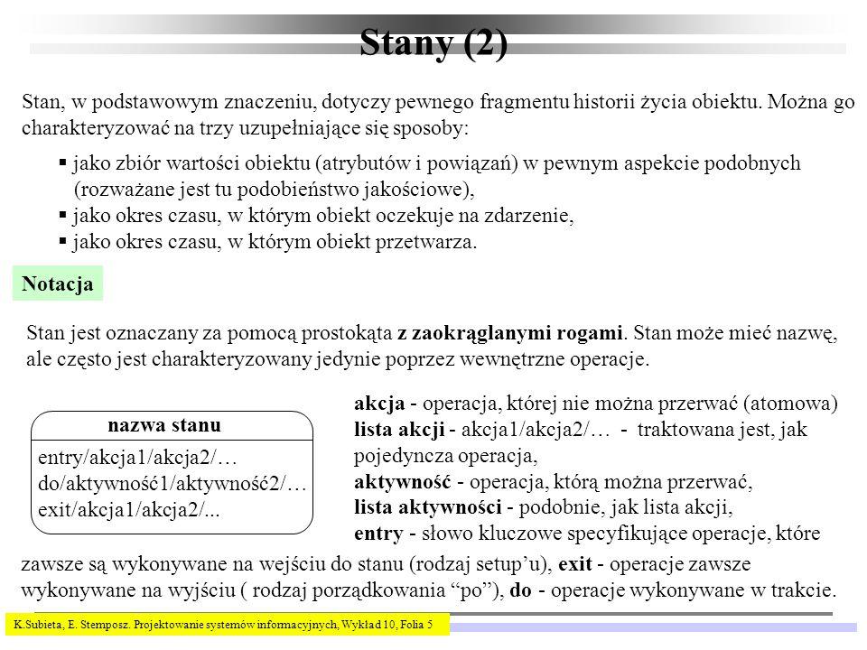 K.Subieta, E.Stemposz. Projektowanie systemów informacyjnych, Wykład 10, Folia 6 Zdarzenia (1) Np.
