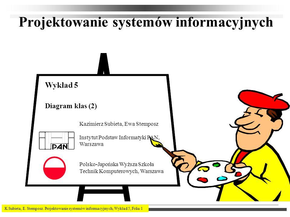 K.Subieta, E. Stemposz. Projektowanie systemów informacyjnych, Wykład 5, Folia 1 Projektowanie systemów informacyjnych Kazimierz Subieta, Ewa Stemposz