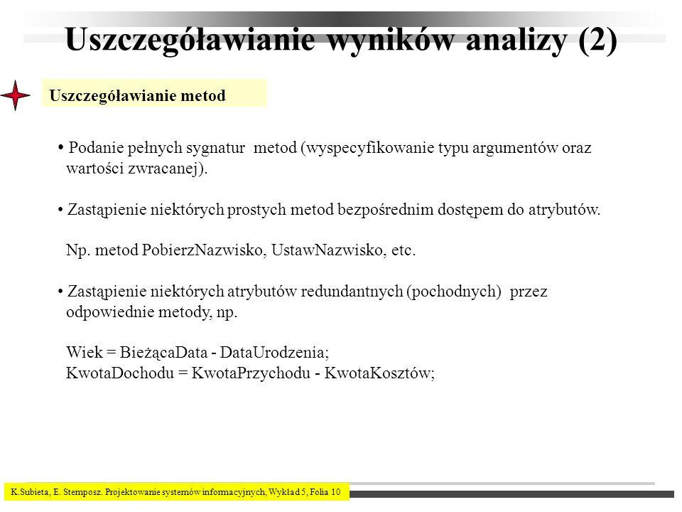 K.Subieta, E. Stemposz. Projektowanie systemów informacyjnych, Wykład 5, Folia 10 Uszczegóławianie wyników analizy (2) Uszczegóławianie metod Podanie