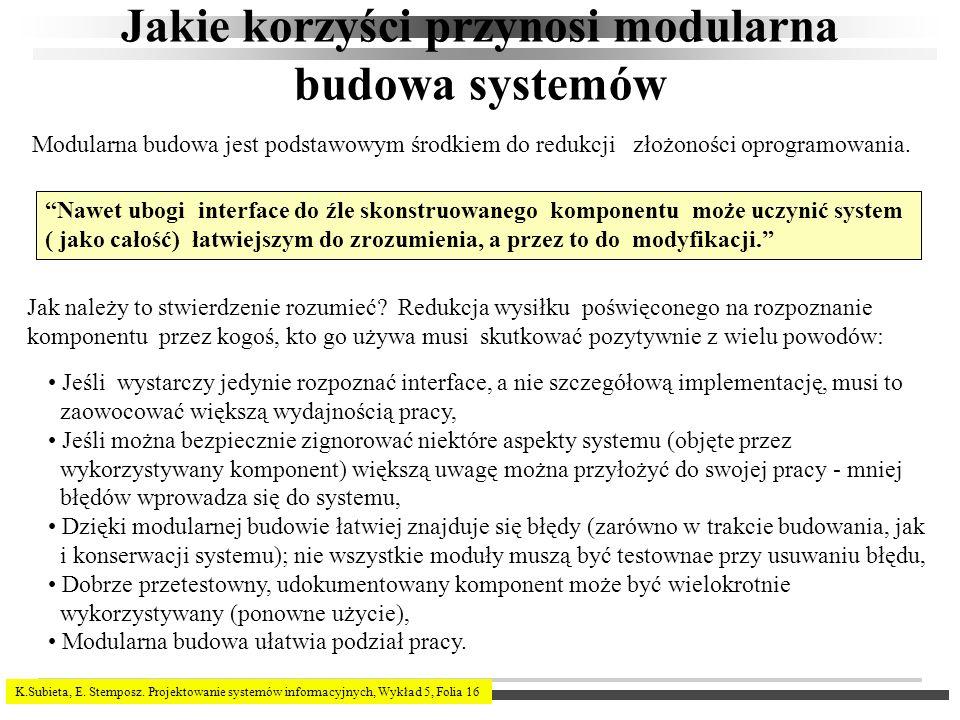 K.Subieta, E. Stemposz. Projektowanie systemów informacyjnych, Wykład 5, Folia 16 Jakie korzyści przynosi modularna budowa systemów Nawet ubogi interf