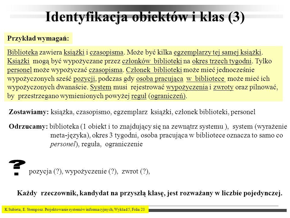 K.Subieta, E. Stemposz. Projektowanie systemów informacyjnych, Wykład 5, Folia 20 Identyfikacja obiektów i klas (3) Przykład wymagań: Biblioteka zawie