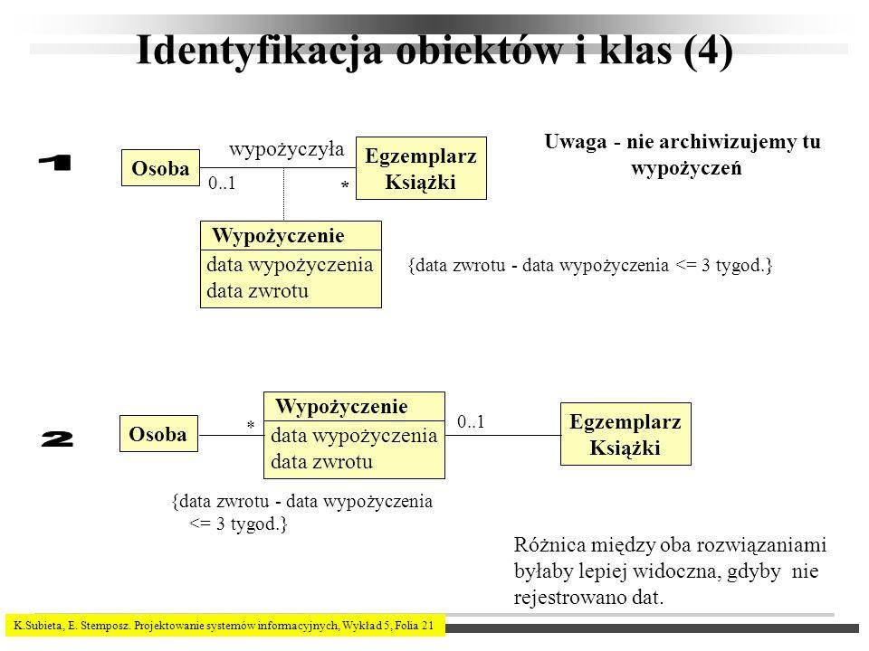 K.Subieta, E. Stemposz. Projektowanie systemów informacyjnych, Wykład 5, Folia 21 Identyfikacja obiektów i klas (4) Osoba Egzemplarz Książki wypożyczy
