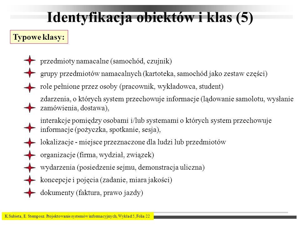 K.Subieta, E. Stemposz. Projektowanie systemów informacyjnych, Wykład 5, Folia 22 Identyfikacja obiektów i klas (5) Typowe klasy: przedmioty namacalne