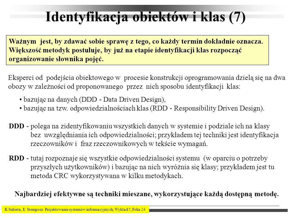 K.Subieta, E. Stemposz. Projektowanie systemów informacyjnych, Wykład 5, Folia 24 Identyfikacja obiektów i klas (7) Ważnym jest, by zdawać sobie spraw