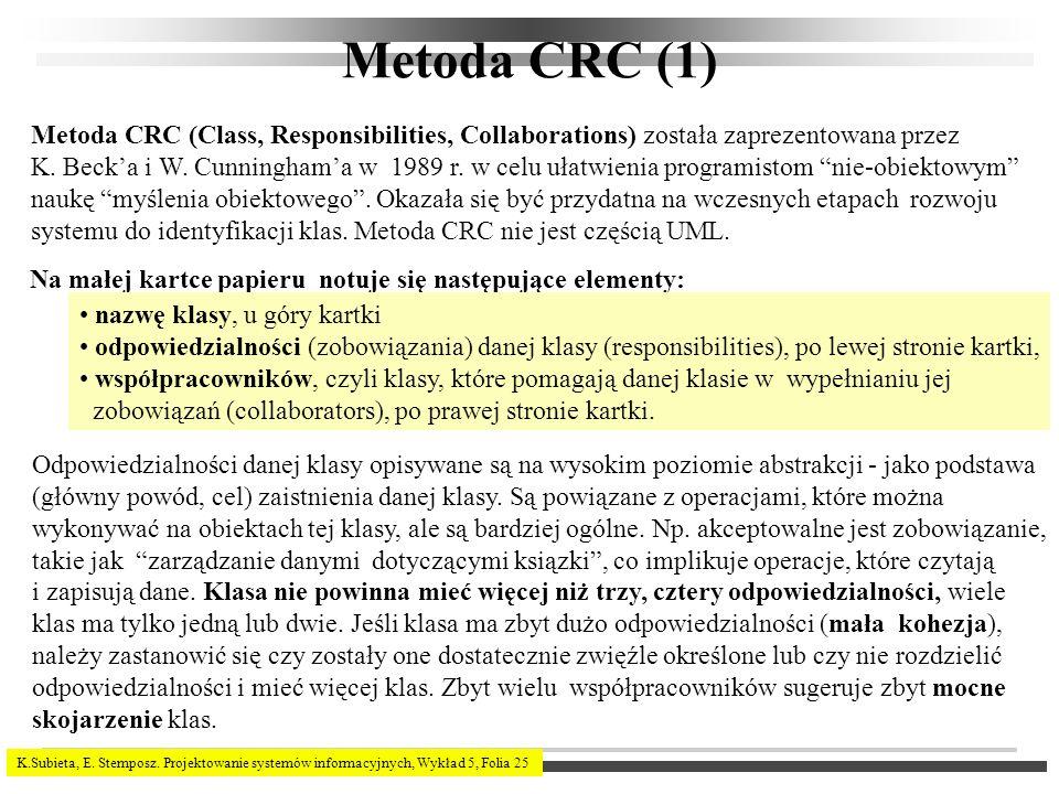K.Subieta, E. Stemposz. Projektowanie systemów informacyjnych, Wykład 5, Folia 25 Metoda CRC (1) Metoda CRC (Class, Responsibilities, Collaborations)